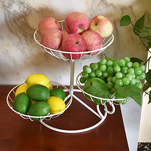 ADISVOT Large Capacity Fruit Basket Sturdy Fruit Basket for Modern Kitchen Countertop Living Room (black and White)-10 Inches