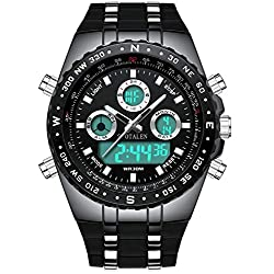 Men Watches Big Face Sports Watch for Men, Waterproof Military Wrist Digital Watches in Black Silicone Band