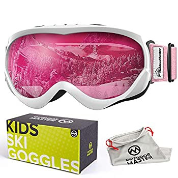 OutdoorMaster Kids Ski Goggles - Helmet Compatible Snow Goggles for Boys & Girls with 100% UV Protection  White-Pink Frame + VLT 46% Pink Lens