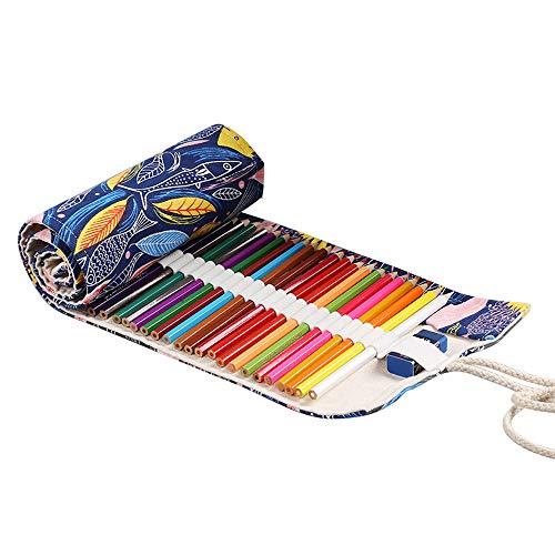 Wankd 48 Slots Bleistift Wrap,Tragbar Stifterolle Bleistifthalter Reise Stiftehalter Buntstifte Federmäppchen Bunter Fisch Roll-up Mäppchen Tasche Organizer