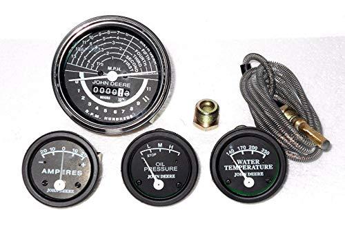 JD Kit de jauge de tracteur avec tachymètre, température de l'eau, huile, ampérage pour 50,60 de visage noir