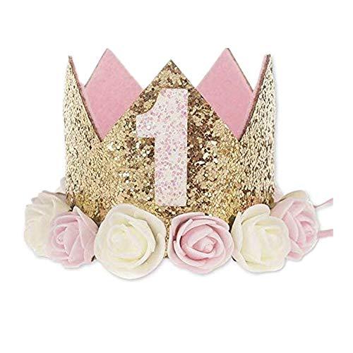 VOARGE 1 Jahr Geburtstag Baby Krone, Geburtstag Krone Baby Geburtstagskrone Haarband Haarschmuck Prinzessin, Haarschmuck Stirnband Haarband Prinzessin Für Babys