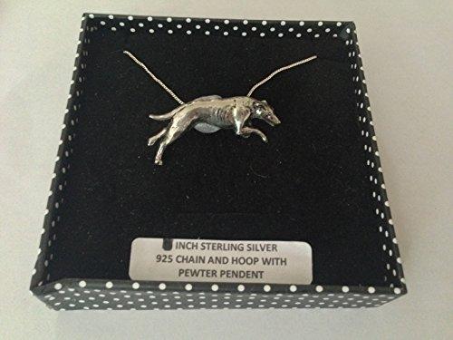 D19 Greyhound - Collar de plata de ley 925 hecho a mano con cadena de 50,8 cm con prideindetails caja de regalo