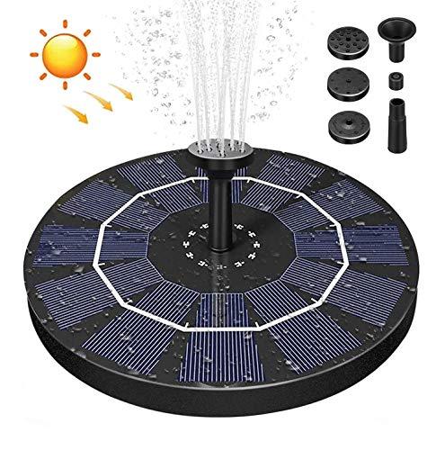 AIMTOP Solar Springbrunnen mit 2.5W Solar Panel, Solar Teichpumpe Wasserpumpe Solar Schwimmender Fontäne Pumpe mit 6 Fontänenstile für Garten, Vogel-Bad, Fisch-Behälter (Schwarz)
