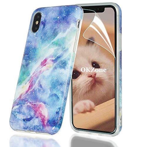 OKZone Cover Compatibile con iPhone X iPhone XS (5,8 Pollici), Custodia Marmo Design Protettiva Guscio Soft Case Bumper Sottile Slim Fit TPU Gel Morbida Cover per iPhone X XS (Blu)