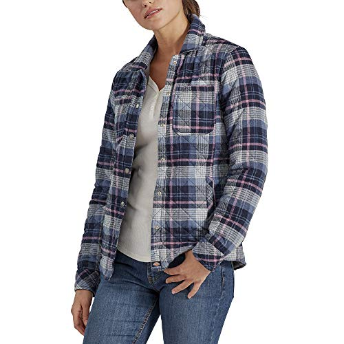 Dickies Women's Quilted Flannel Shirt Jacket, Navy/Dusky Orchid Plaid, Extra Large