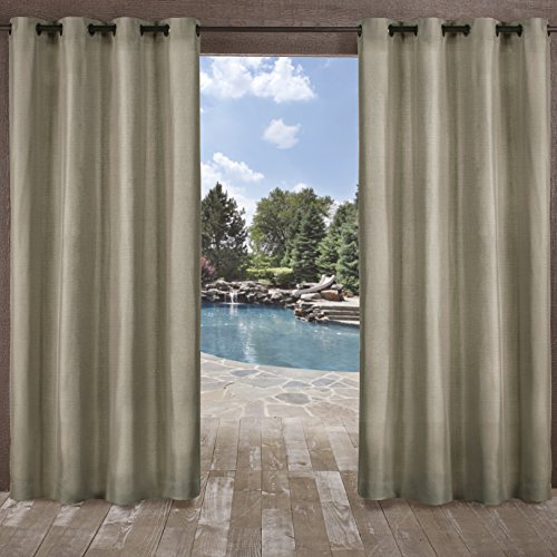 Exclusive Home Curtains Biscayne Indoor/Outdoor Two Tone Textured Window Curtain Panel Pair with Grommet Top, 54x84, Natural, 2 Piece