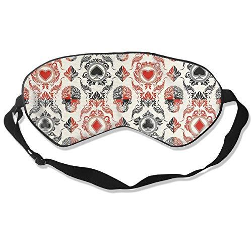 Schlafmaske mit Spielkarten-Motiv, für Damen und Herren, modisch, süße Persönlichkeit, bequem, atmungsaktiv, Lichtblock, Augenmaske für überall Schlaf, verstellbarer Riemen, Augenmaske