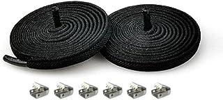 Lacets élastiques sans nœud en demi-cercle pour chaussures enfants et adultes - Lacets rapides en métal - Noir - 100 cm
