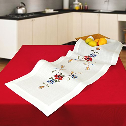 Kamaca Stickpackung BLÜTENTEPPICH mit MOHN und Korn Blumen Stickdecke Tischläufer 40 x 100 cm Kreuzstich vorgezeichnet aus 100% Baumwolle zum Selbersticken