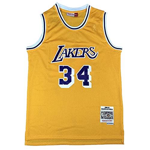 KKSY Maglie da Uomo Shaquille O'Neal #34 Lakers Maglie da Basket Retro,B,XXL