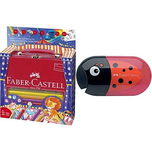 Faber-Castell A.W. 201352 - Malset Jumbo Grip Zirkus im Metall-Koffer & Faber-Castell 183526 - Doppelspitzdose Käfer Inklusiv Radierer