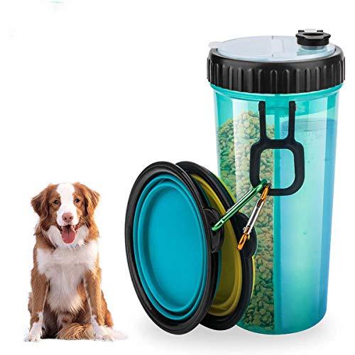 Queta Botellas para Perros,Botella de Agua para Perros,Botella Bebedero Perros 2 en 1, para Camping, Paseo, Senderismo, Entrenamiento