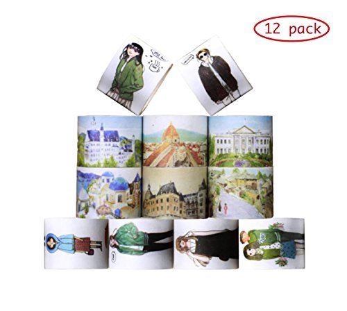 30mm Wide 12 Rolls Washi Masking Tape Set,Decorative Craft Tape Collection for DIY Scrapbooking Crafts Wrapping