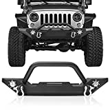 Front Bumper for Jeep Wrangler TJ & YJ, AAIWA Rock Crawler Bumper with Winch Plate Mounting & 2pcs LED Fog Lights & 2 D-Rings Compatible for 87-06 Jeep Wrangler TJ & YJ Off Road