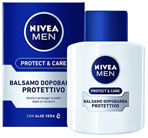 NIVEA MEN Protect & Care Balsamo Dopobarba Protettivo in confezione da 2x100 ml, After shave uomo con Aloe Vera, Vitamina E e Pro-vitamina B5, Balsamo barba idratante