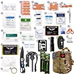 EVERLIT 250 Pieces Survival First Aid Kit IFAK Molle System Compatible Outdoor Gear Emergency Kits Trauma Bag for… 11 ✅【Exclusive 250 PCS First Aid Survival Kit Contained a Military Molle EMT Pouch】Uniquely customized by U.S military veterans, field tested by EX- Army Sergent, designed to get you well-prepared in an emergency situation. The kit combines 241 PCS First Aid Supply with 9 powerful Survival Gear into a Must-Have EDC emergency kit. ✅【Comprehensive First Aid Treatment Exceeds OSHA Guidelines For Single Family】The kit contains more than enough supply to treat a single family or a group of friends under emergency circumstances. Perfect for taking care of any medical or emergency needs during outdoor wilderness adventures such as camping, boy scouts, hiking, hunting and mountain biking, etc. ✅【Molle Compatible, Durable, Portable, and Water-Resistant】The military grade EMT bag was made from 1000D water-resistant nylon, it offers three large compartments and plenty of rooms to add your own gear. The overall dimension of the kit is 8'' x 6.5'' x 5'' and weight only 1.9 lbs. The molle compatible straps on the back allow the user to attach it to other bags or your belt, which made it a perfect companion for any outdoor activities.