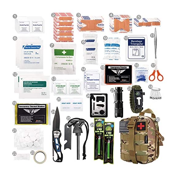 EVERLIT 250 Pieces Survival First Aid Kit IFAK Molle System Compatible Outdoor Gear Emergency Kits Trauma Bag for… 3 ✅【Exclusive 250 PCS First Aid Survival Kit Contained a Military Molle EMT Pouch】Uniquely customized by U.S military veterans, field tested by EX- Army Sergent, designed to get you well-prepared in an emergency situation. The kit combines 241 PCS First Aid Supply with 9 powerful Survival Gear into a Must-Have EDC emergency kit. ✅【Comprehensive First Aid Treatment Exceeds OSHA Guidelines For Single Family】The kit contains more than enough supply to treat a single family or a group of friends under emergency circumstances. Perfect for taking care of any medical or emergency needs during outdoor wilderness adventures such as camping, boy scouts, hiking, hunting and mountain biking, etc. ✅【Molle Compatible, Durable, Portable, and Water-Resistant】The military grade EMT bag was made from 1000D water-resistant nylon, it offers three large compartments and plenty of rooms to add your own gear. The overall dimension of the kit is 8'' x 6.5'' x 5'' and weight only 1.9 lbs. The molle compatible straps on the back allow the user to attach it to other bags or your belt, which made it a perfect companion for any outdoor activities.