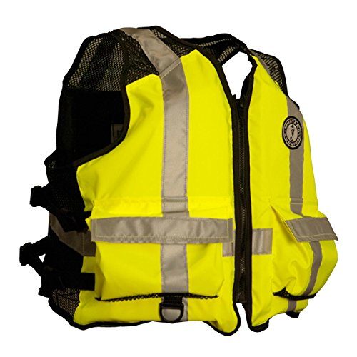 New MUSTANG SURVIVAL High Visibility Industrial Mesh Vest Size: Small/Medium