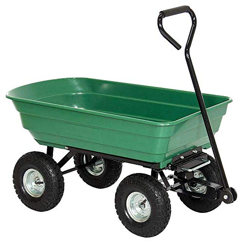 LARS360 Kippwagen Bollerwagen Gartenwagen Handwagen Handkarren Gartenkarre Transportkarre 75L bis 250kg Belastbar Aufblasbar Reifen Grün