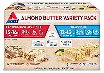 Atkins Almond Butter Meal and Snack Bar Variety Pack. Gluten-Free, Light and Crispy Protein & Fiber Bars Made with Real Almond Butter (4 Flavors, 24 Bars)