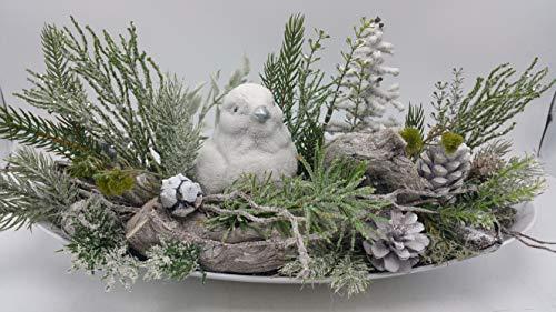 Weihnachtsgesteck Tischgesteck Wintergesteck Kunstfloristik Vogel Tanne Zapfen