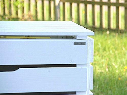 3er Mülltonnenbox / Mülltonnenverkleidung 240 L Holz, Deckend Geölt Weiß - 3