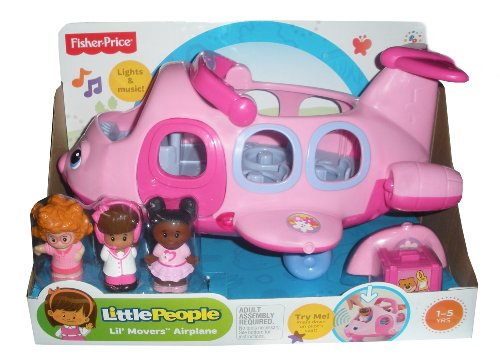 Fisher-Price L5200 - Little People Little Movers Pink Airplane - Kommt mit 3 Figuren - Elektronisches Spielzeug