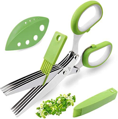 YEGOOD - Set di forbici per erbe aromatiche, multiuso, 5 lame in acciaio inox con copertura di sicurezza, pettine per la pulizia e lo spelaerbe per tagliare insalata di cipolle e coriandoli,