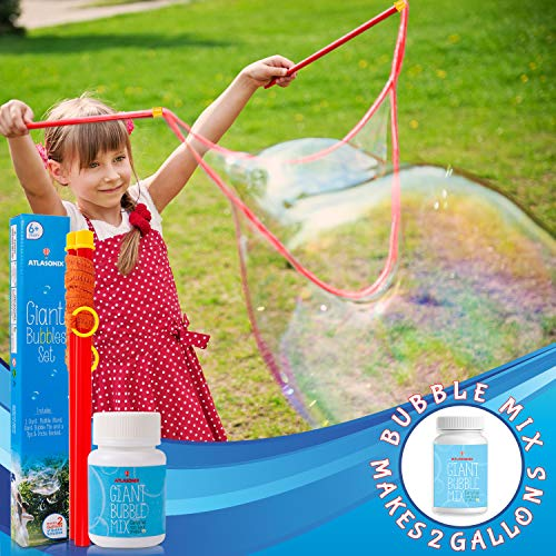 Giant Bubble Wand & Mix for 2 Gallons of Big Bubble Solution w/ Tips & Trick Booklet | Super Bubbles Maker for Kids & Toddlers, Birthday Parties, and Outdoor Family Fun | Makes Gigantic Bubbles