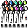 ZUCKEO 10W RGB Color Change Landscape Lighting with Quick Connectors Low Voltage Remote Control LED Landscape Lights IP66 Waterproof Yard Lawn Garden Flag Outdoor Spotlights (10Pack with Connectors)