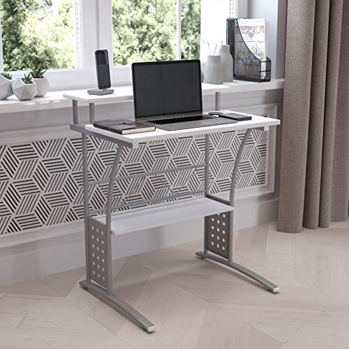 Flash Furniture Clifton Computer Desk - White Home Office Desk - Raised Monitor Shelf - Perforated Side Paneling