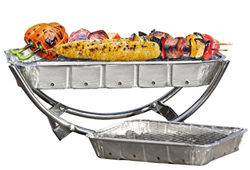 Asado Barbecue asadob002 1 Structure Dual pour Cartouche Standard et Party et 1 Cartouche, Argent