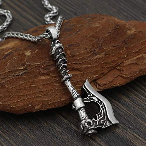 Collar de hombreColgante De Hacha De Cuervo De Lobo Celta Vikingo para Hombre, Collar De Cuerda De Cuero con Runas Navia, Amuleto Nórdico Masculino, J