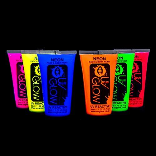 UV Glow Lot de 6 grand 50ml tubes de peinture fluorescente pour le visage et le corps 6 x 50 ml
