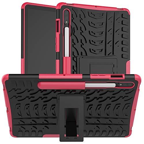 JIAHENG Caja de la Tableta Caja Protectora Galaxy Tab for Samsung S7 T870 / T875 Textura del neumático a Prueba de Golpes de TPU + PC con el sostenedor PU de Cuero de la Cubierta de Shell