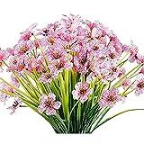 CZXKJ Plantas Decorativas al Aire Libre 12 Paquetes Artificiales Flores al Aire Libre Flores Falsas Faux Plantillas Plantas jardín Porche Ventana decoración Rosa Jardín, balcón, etc.