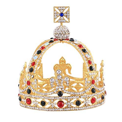 HerZii Luxury Vintage Gold Wedding Crown Alloy Bridal Tiara Baroque Queen King Crown (Gold)