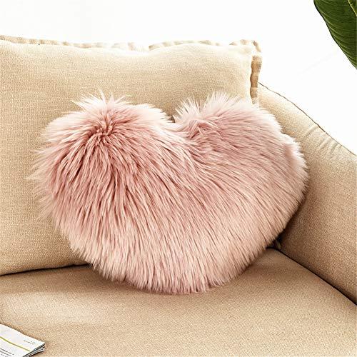 GLITZFAS Herzkissen Faux Lammfell Schaffell Kissen Dekokissen Zierkissen für Sofa Bett (Pink)