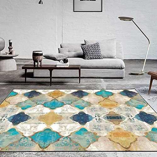 Fancytran Alfombra Grande Vintage Estampado Geométrica Marruecos Enrejado Diseño, para Sala de Estar o Dormitorio, Amarillo y azu, 160 x 230cm