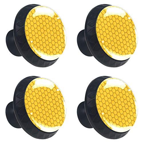 KAMEARI Tiradores de cajón con forma de círculo de cristal, diseño geométrico hexagonal, color amarillo, con tornillos, para el hogar, la cocina, la oficina