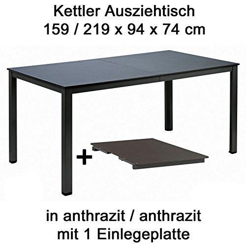 Kettler Ausziehtisch 159 bis 219 cm x 94 cm in anthrazit Gartentisch