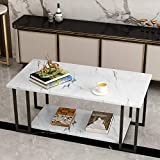 AWQM Marble Coffee Table, Faux Marble Top Rectangular...