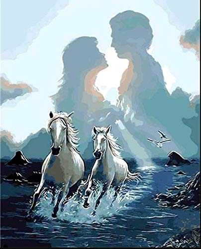 Pinte la puesta de sol pareja silueta caballos de acuerdo con el número kit-pintura al óleo de bricolaje adulto pintado a mano niños adultos pintura al óleo hecha a mano regalo creativo 40x50cm