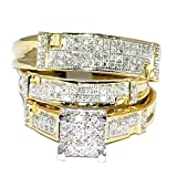 Midwest Jewellery Yellow Gold Trio Wedding Set Mens Women Rings Real 1/2cttw Diamonds Pave (I2/i3 Clarity, I/j Color)