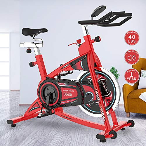 pooboo Stationary Exercise Bike Indoor Cycling Bike with LCD Display, 40LBS Heavy-Duty Flywheel for Cardio Workout with Ipad Holder(Red)