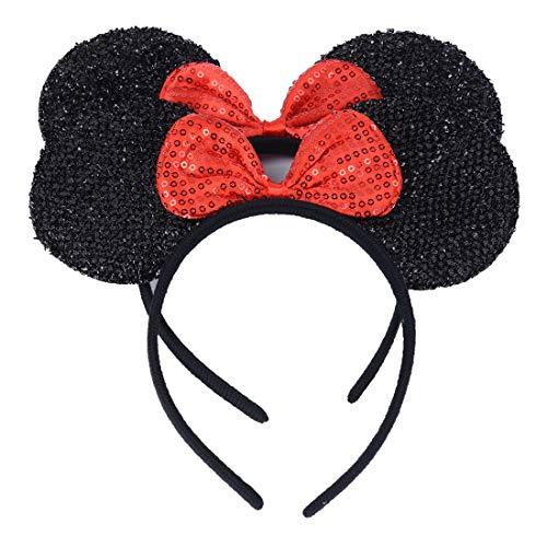 Enfant Fille Bébé Minnie Mouse Oreilles Serre-tête Paillettes Bow Hairband Cheveux Accessoires