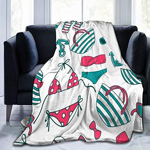 Ultraweiche Micro Fleece Decke,Strandtasche Sonnenhut Bikini Badeanzug Anchore Sonnenbrille Sommer Flip-Flop, Home Decor Warmwurfdecke für Couchbett 50
