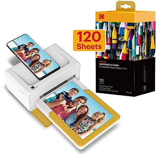 Kodak Dock Plus Instant Photo Printer – Bluetooth Portable Photo Printer Full Color Printing – Mobile App Compatible with iOS and Android – Convenient and Practical - 120 Sheet Bundle
