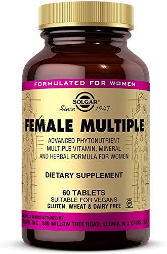 Solgar Female Multiple Tablets - Multivitamin Mineral Herbal Formula for Women - Advanced Phytonutrient - Vegan, Gluten Free, Dairy Free, 20 Servings, Standard Packaging, 60 Count
